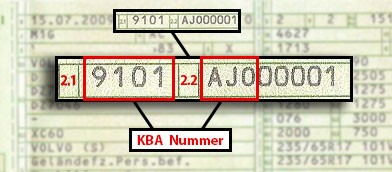 KBA Number Example 1